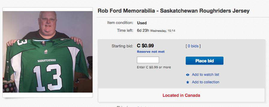 Rob Ford just posted some very strange items on eBay!