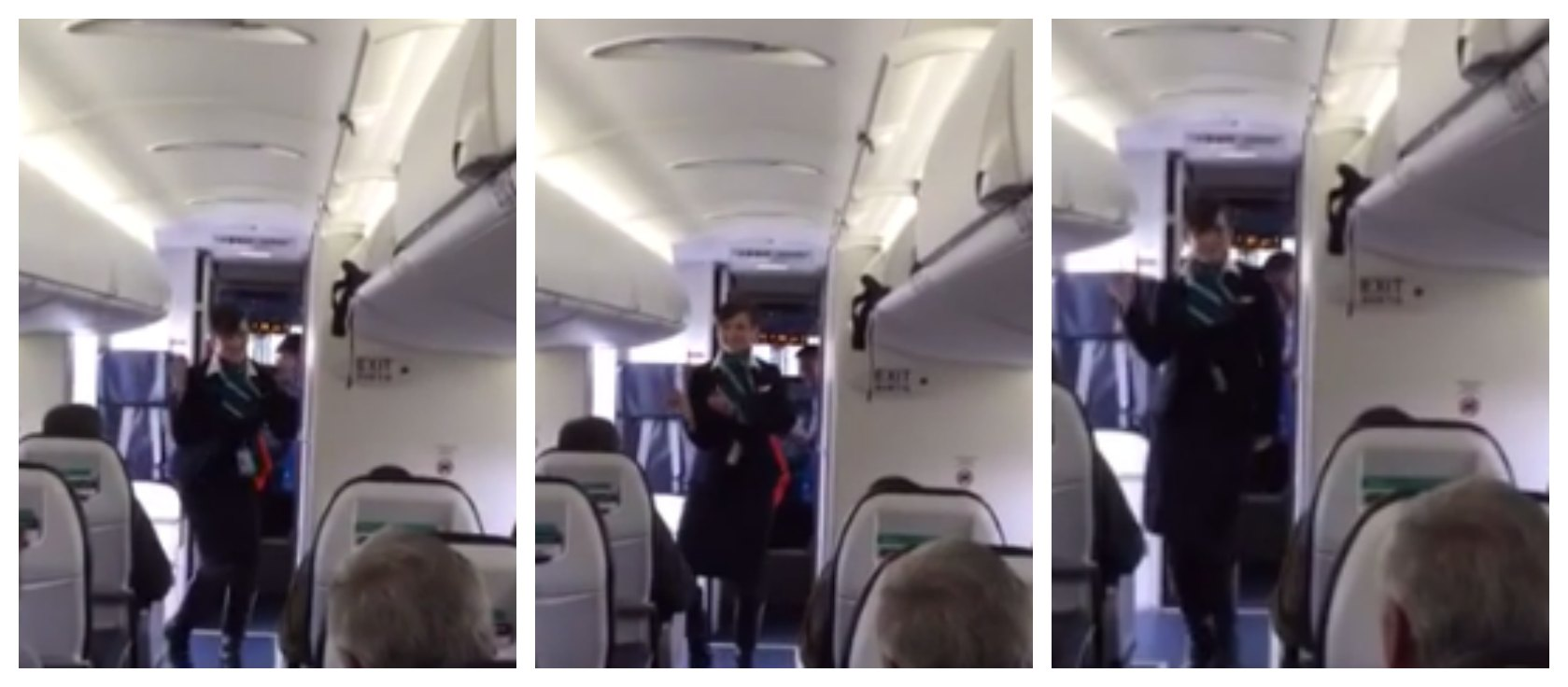 Video: Westjet flight attendant gets funky