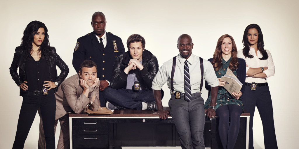 BROOKLYN NINE-NINE: Cast L-R: Stephanie Beatriz, Joe Lo Truglio, Andre Braugher, Andy Samberg, Terry Crews, Chelsea Peretti and Melissa Fumero. BROOKLYN NINE-NINE premieres Tuesday, Sept. 17 (8:30-9:00 PM ET/PT) on FOX. ©2013 Fox Broadcasting Co. Cr: FOX